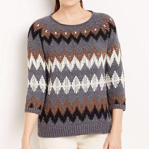 J. Jill Chevron Heavy Knit Gray Brown Sweater